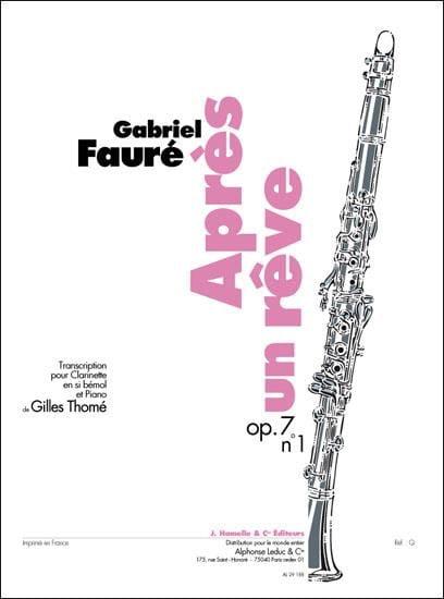 Après un rêve op. 7 n° 1 - Clarinette - laflutedepan.com