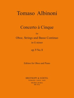 Concerto a 5, op. 9 n° 8 - Oboe piano ALBINONI Partition laflutedepan