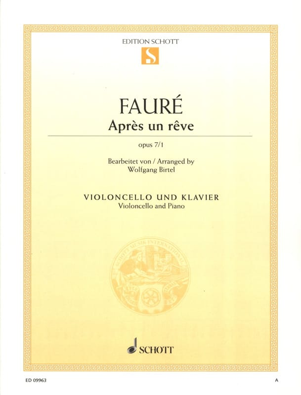 Après un rêve - FAURÉ - Partition - Violoncelle - laflutedepan.com