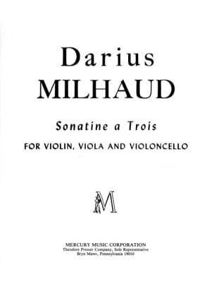 Sonatine A Trois -score + Parts MILHAUD Partition laflutedepan