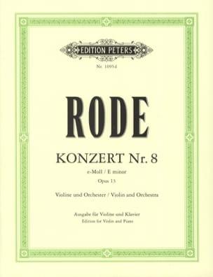 Konzert n° 8 e-Moll op. 13 Pierre Rode Partition Violon - laflutedepan