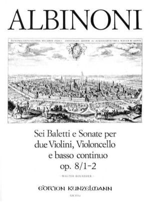 6 Baletti e Sonate op. 8/1-2 -Stimmen ALBINONI Partition laflutedepan