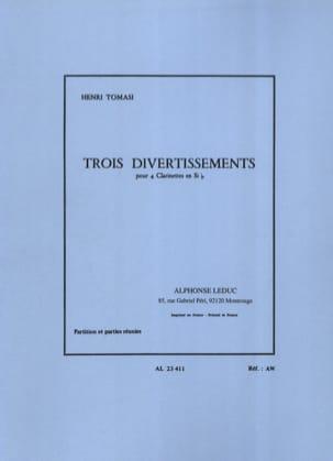 3 Divertissements - 4 Clarinettes TOMASI Partition laflutedepan