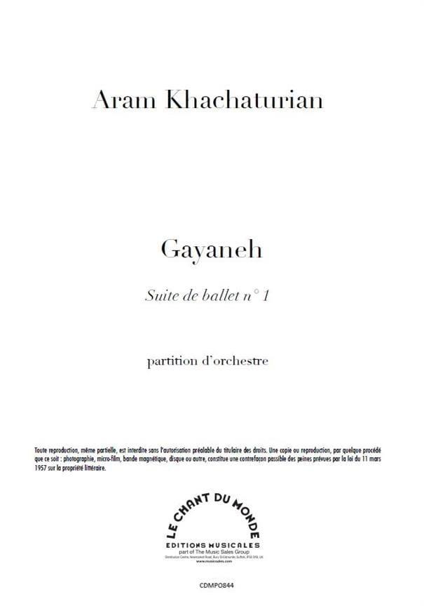Gayaneh Suite N° 1 - KHATCHATURIAN - Partition - laflutedepan.com