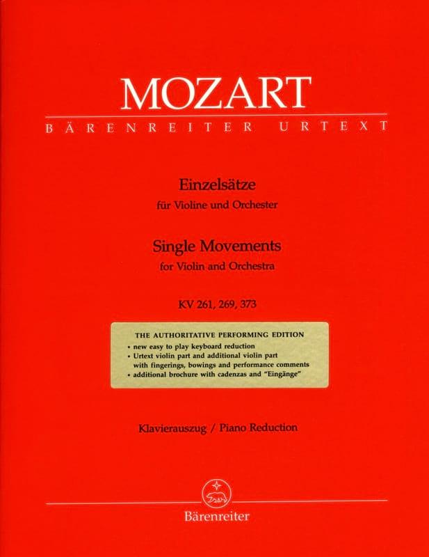 Einzelsätze für Violine KV 261, 269, 373 - MOZART - laflutedepan.com