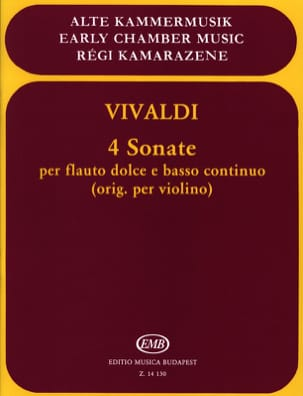 4 Sonates - Flauto dolce e Bc VIVALDI Partition laflutedepan