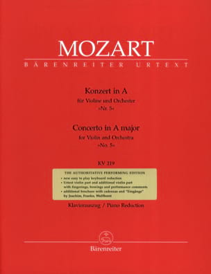 Concerto N° 5 la Majeur KV 219 MOZART Partition Violon - laflutedepan