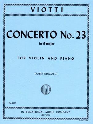 Giovanni Battista Viotti - Concerto No. 23 in G Major - Partition - di-arezzo.com