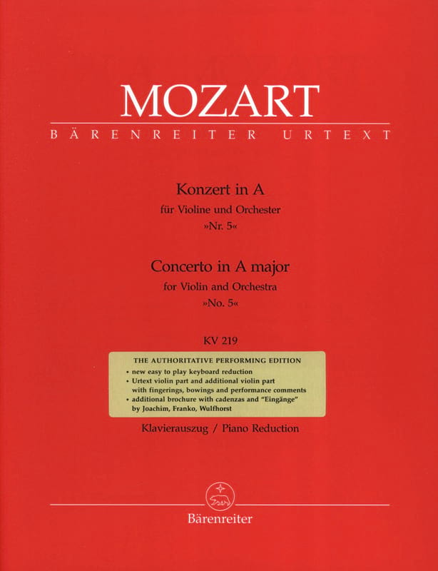 Concerto N° 5 la Majeur KV 219 - MOZART - Partition - laflutedepan.com