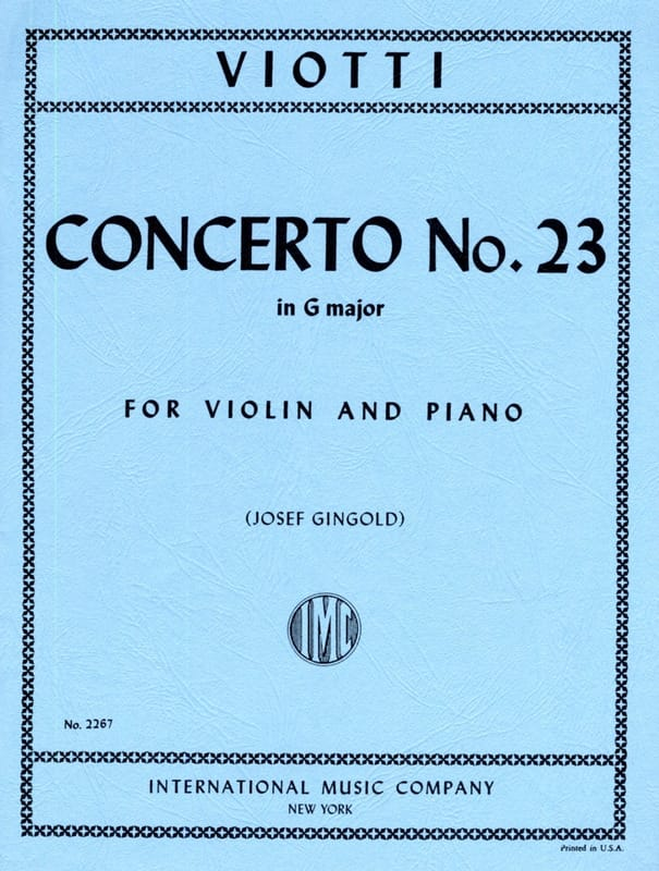 Concerto n° 23 in G Major - VIOTTI - Partition - laflutedepan.com