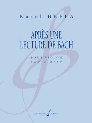Après une Lecture de Bach Karol Beffa Partition Violon - laflutedepan