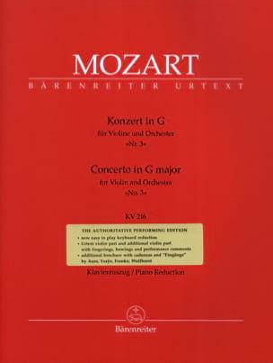Concerto N° 3 Sol Majeur KV 216 MOZART Partition Violon - laflutedepan