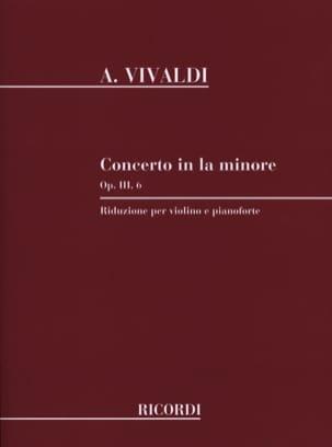Concerto Violon la mineur op. 3 n° 6 VIVALDI Partition laflutedepan