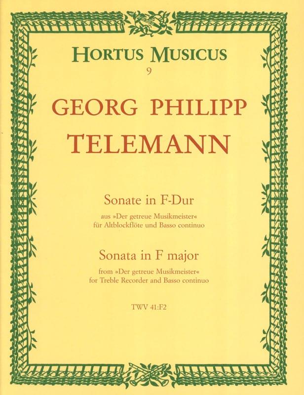 Sonate in F-Dur - Altblockflöte u. Bc - TELEMANN - laflutedepan.com