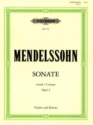 Sonate fa mineur op. 4 MENDELSSOHN Partition Violon - laflutedepan