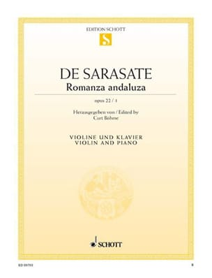 Romanza andaluza op. 22 n° 1 SARASATE Partition Violon - laflutedepan