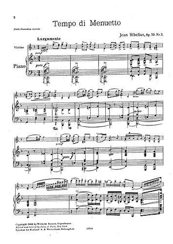 Tempo di minuetto op. 79 n° 2 - SIBELIUS - laflutedepan.com
