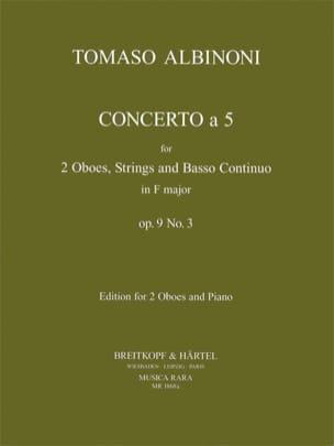 Concerto a 5, op. 9 n° 3 - 2 Oboes-piano ALBINONI laflutedepan