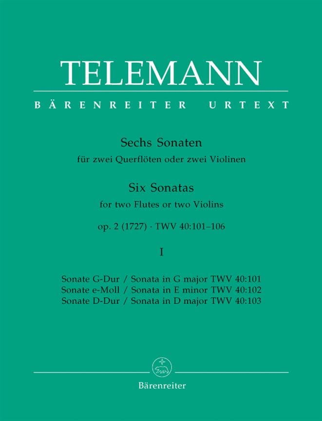 6 Sonates op. 2 Volume 1 pour 2 Flutes ou 2 violons - laflutedepan.com