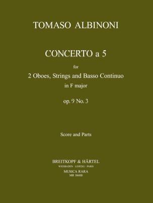 Concerto a 5, op. 9 n° 3 - Score + parts ALBINONI laflutedepan