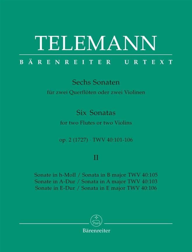 6 Sonates op. 2 Volume 2 pour 2 Flutes ou 2 violons - laflutedepan.com