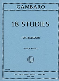 18 Studies - Bassoon Giovanni Battista Gambaro Partition laflutedepan