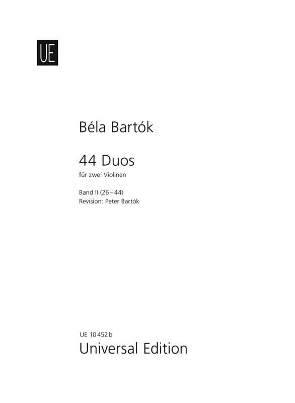 44 Duos Volume 2 - 26-44 - BARTOK - Partition - laflutedepan.com