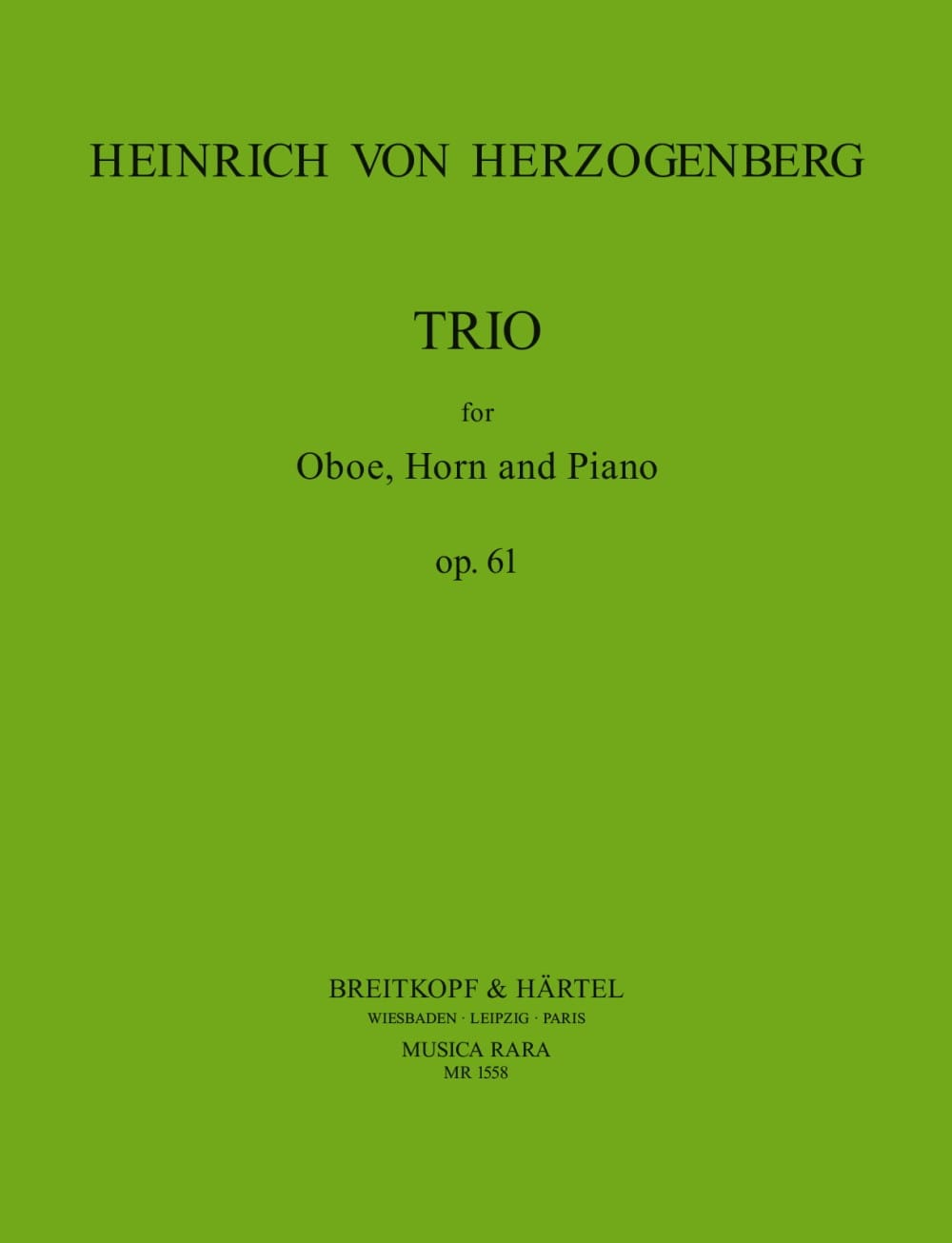 Trio Op.61 - Heinrich von Herzogenberg - Partition - laflutedepan.com