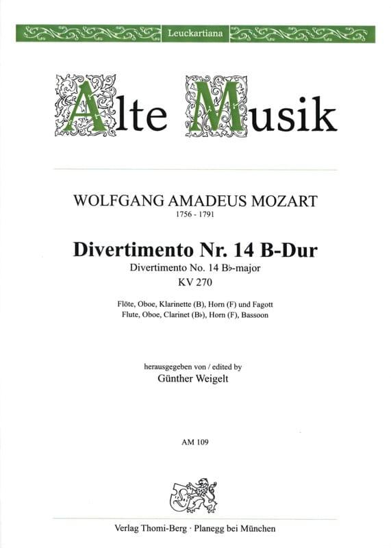 Divertimento Nr. 14 B-Dur KV 270 - Bläserquintett - Stimmen - laflutedepan.com