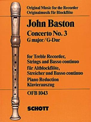Concerto Nr. 3 G-Dur für Altblockflöte John Baston laflutedepan