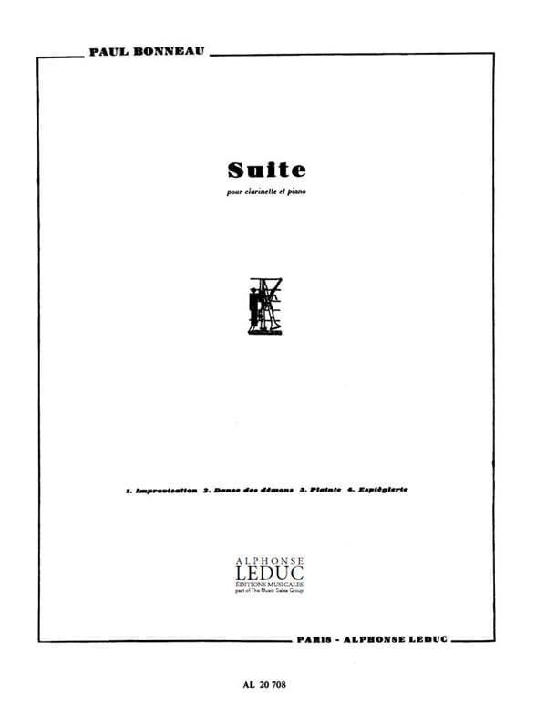 Suite - Paul Bonneau - Partition - Clarinette - laflutedepan.com