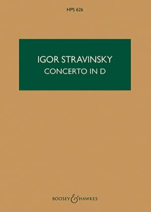 Concerto in D for string orch. - Score STRAVINSKY laflutedepan
