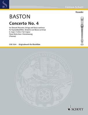 Concerto Nr. 4 G-Dur für Sopranblockflöte John Baston laflutedepan