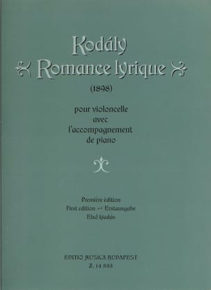 Romance Lyrique KODALY Partition Violoncelle - laflutedepan