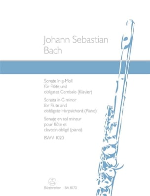 Sonate en Sol Mineur BWV 1020 BACH Partition laflutedepan
