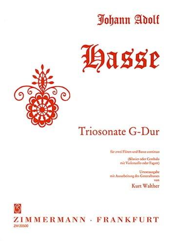 Triosonate G-Dur -2 Flöten Bc - Johann Adolf Hasse - laflutedepan.com