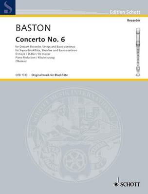 Concerto Nr. 6 D-Dur für Sopranblockflöte John Baston laflutedepan