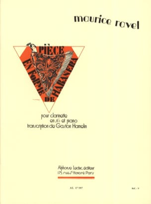 Pièce en forme de habanera - Clarinette RAVEL Partition laflutedepan