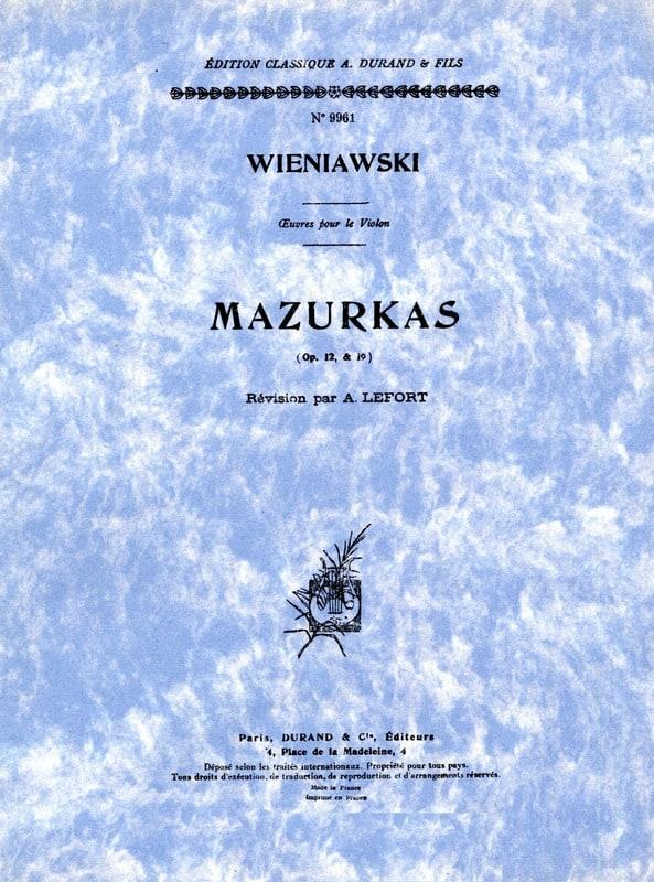 Mazurkas op. 12 et op. 19 - WIENAWSKI - Partition - laflutedepan.com