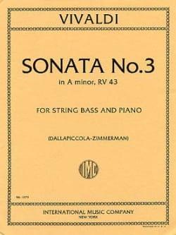 Sonate n° 3 in A minor VIVALDI Partition Contrebasse - laflutedepan