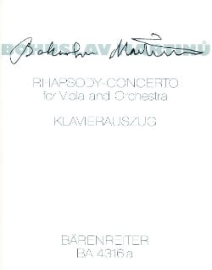Rhapsody-Concerto -Viola Klavier MARTINU Partition laflutedepan