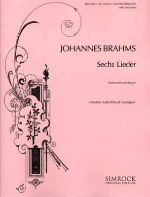 6 Lieder BRAHMS Partition Violoncelle - laflutedepan