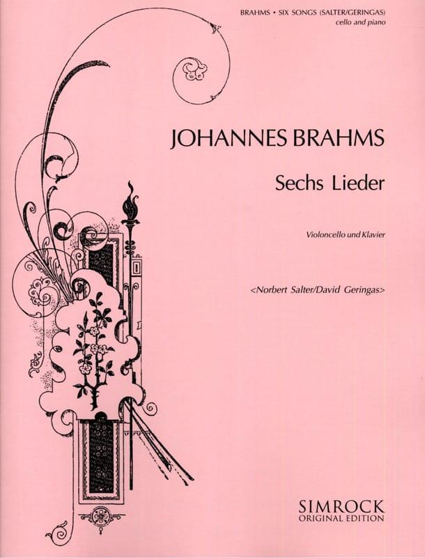 6 Lieder - BRAHMS - Partition - Violoncelle - laflutedepan.com