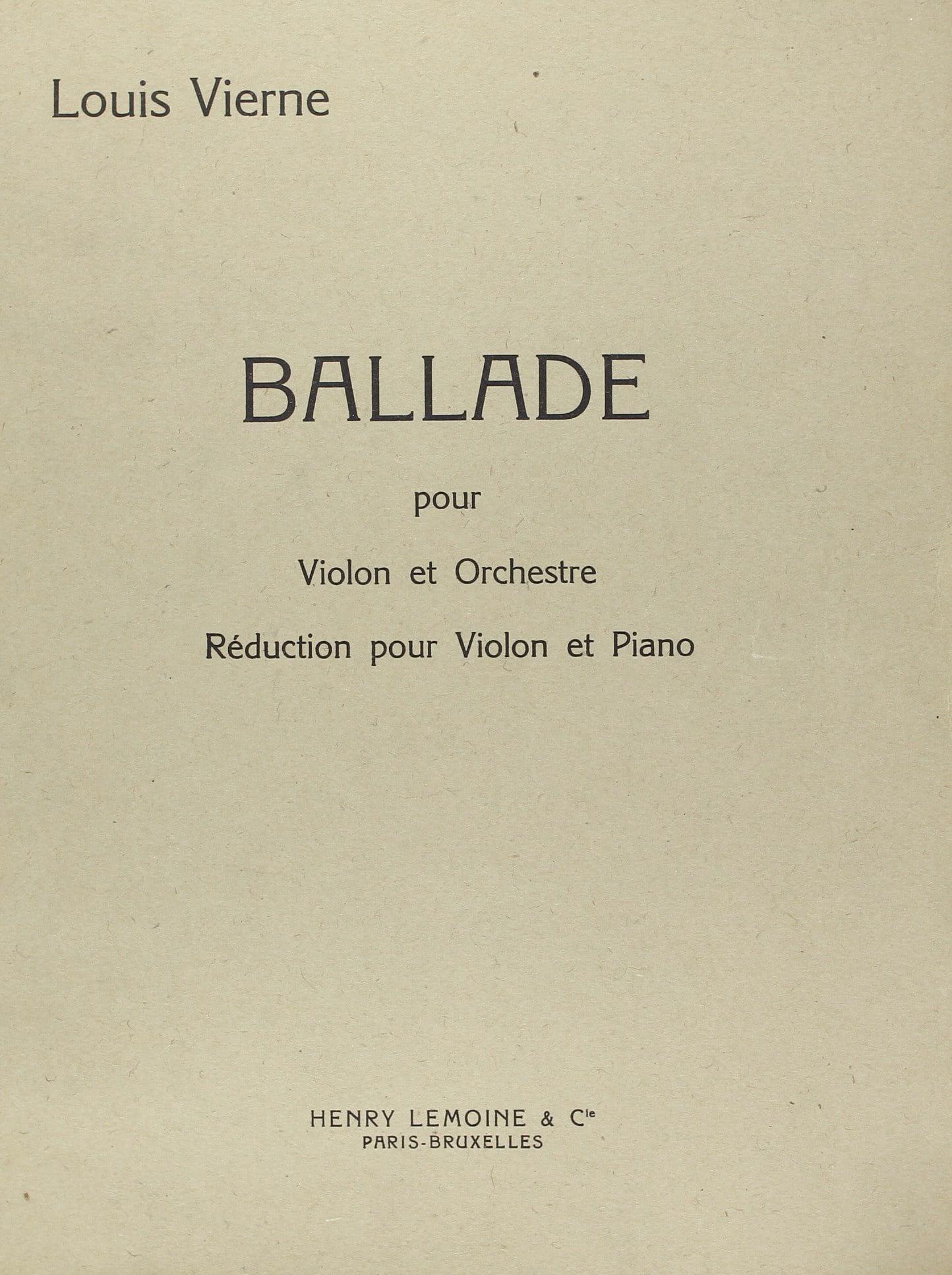 Ballade op. 52 - VIERNE - Partition - Violon - laflutedepan.com