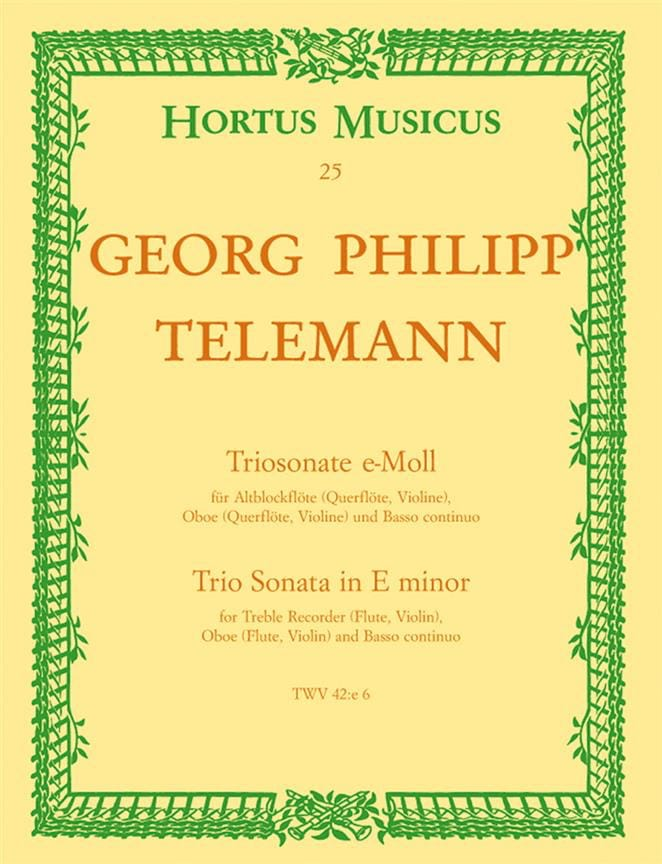 Triosonate e-moll - Altblockflöte Flöte, Oboe Violine u. BC - laflutedepan.com