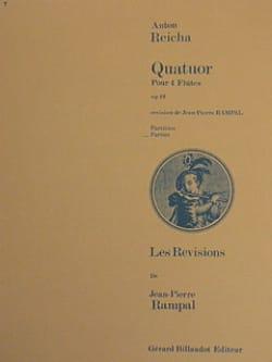 Quatuor op. 19 - 4 Flûtes - Conducteur et Parties REICHA laflutedepan