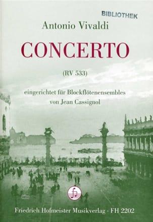Concerto Rv 533 VIVALDI Partition Flûte à bec - laflutedepan