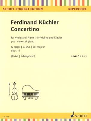 Ferdinand Küchler - Concertino en Sol Majeur, opus 11 - Violon et piano - Partition - di-arezzo.fr