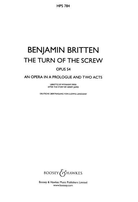 The Turn of the screw - Conducteur relié - BRITTEN - laflutedepan.com
