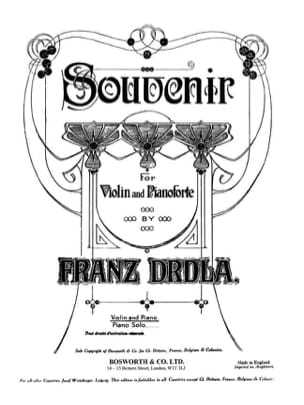 Souvenir Franz Drdla Partition Violon - laflutedepan